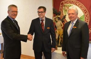 1. Schützenmeister Jürgen Schmitz, Dr. Tobias Dreßen, 2. Schützenmeister Dr. Reiner Aghte